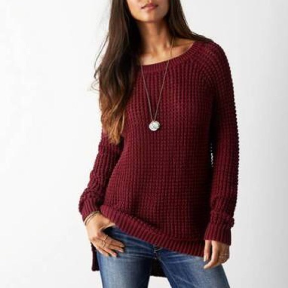 639cc1a85e American Eagle Outfitters Sweaters - American Eagle Loose Knit Burgundy  Jegging Sweater